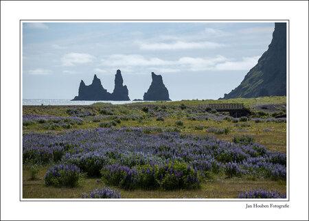IJsland (2-70) - Reynisdrangar gezien vanaf het strand van Vik. - foto door JanHouben op 10-04-2021 - locatie: IJsland - deze foto bevat: lucht, wolk, fabriek, ecoregio, natuurlijk landschap, gras, helling, rechthoek, landschap, berg