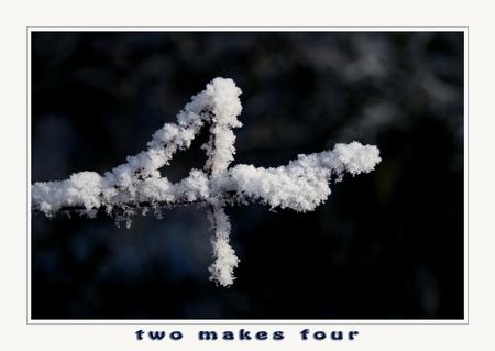 Two makes Four - Twee takjes en misschien door de natuur in deze vorm gebogen. Of door de mens, omdat er sneeuw op ligt zag ik er het cijfer 4 in.  Normaal zou het  - foto door wimida op 17-01-2009 - deze foto bevat: sneeuw, natuurgebied, takjes