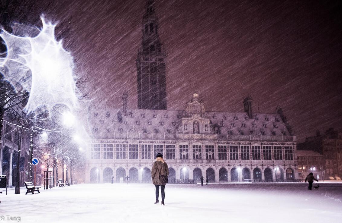 Sibelgica - A snowy night in Leuven - foto door Zihan op 16-01-2013 - deze foto bevat: snow, library, leuven