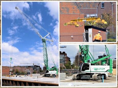 Collage   Meijmat   kraan  hulp bij Vloerenleggen  nieuw app gebouw 7 mei 2021