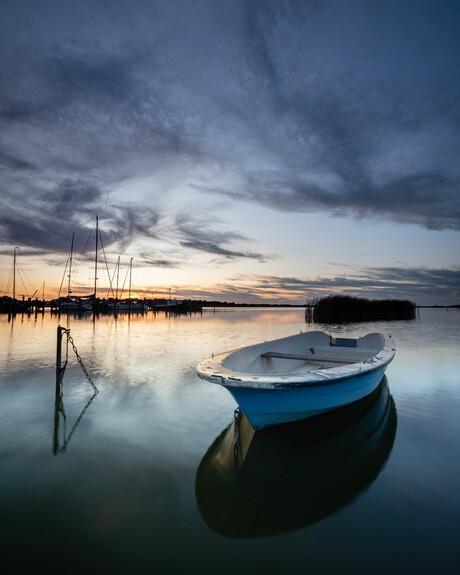 solo boat on the Ijsselmeer
