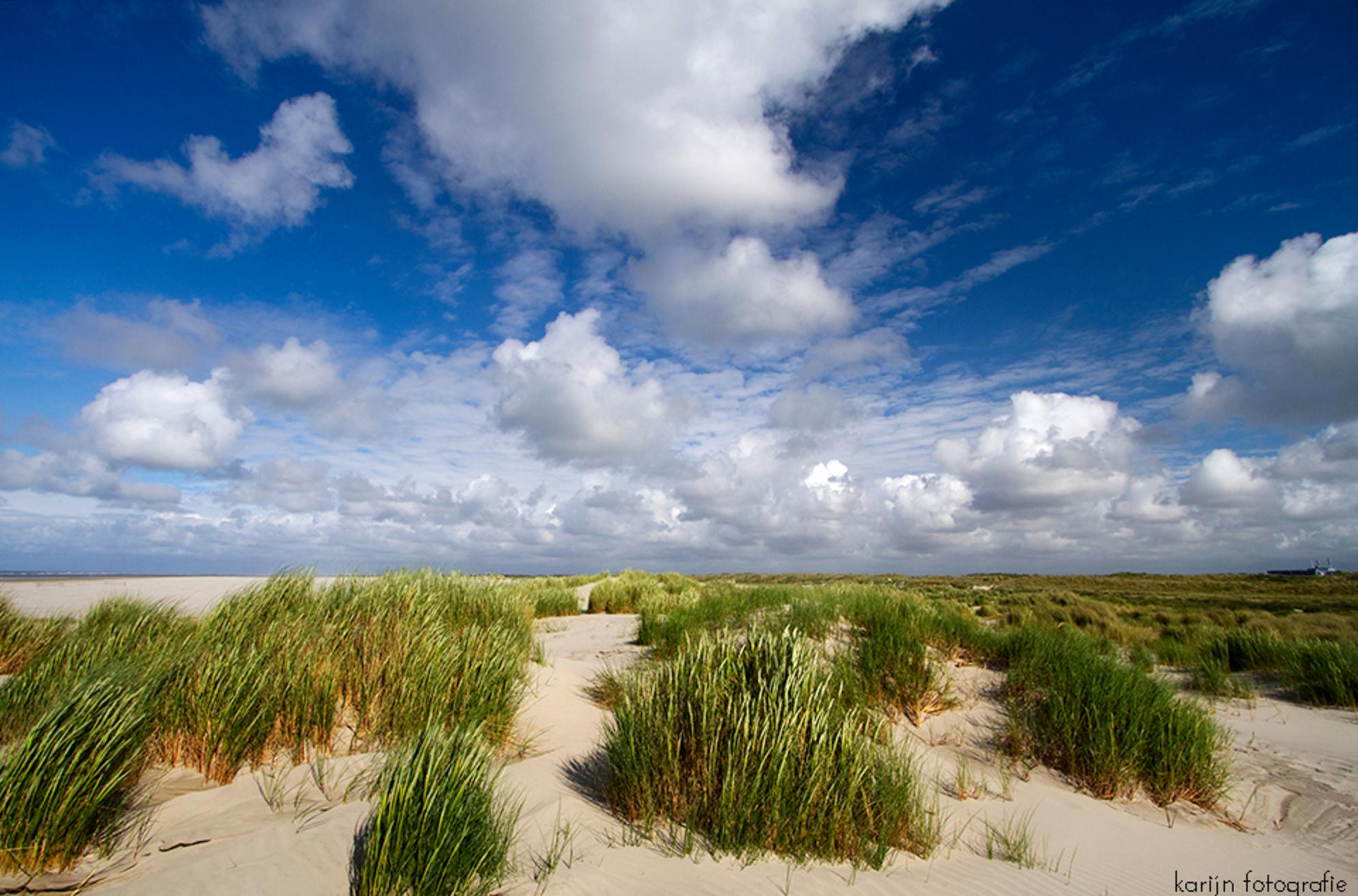 strand - Een dag aan zee - foto door karijn op 28-03-2017 - deze foto bevat: groen, lucht, wolken, blauw, zon, strand, zee, water, natuur, licht, vakantie, landschap, duinen, zomer, voorjaar, zand, canon, nederland, wadden, eiland, waddeneiland, kikvorsperspectief, groothoek lens - Deze foto mag gebruikt worden in een Zoom.nl publicatie