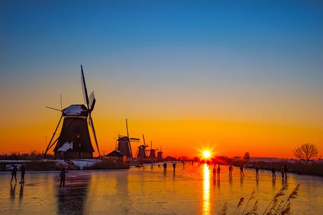 Zonsopkomst Kinderdijk 13-02-2021