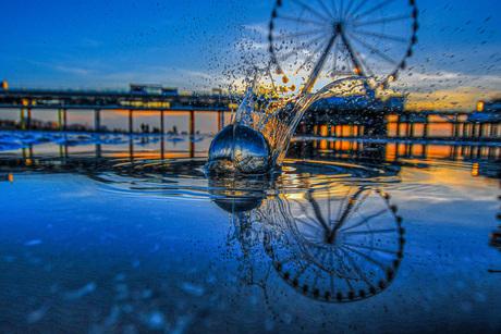Splash glassball sunset