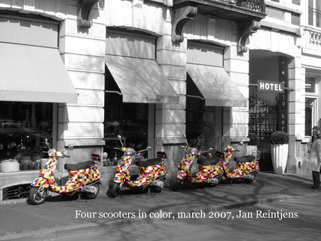 Four scooters in color