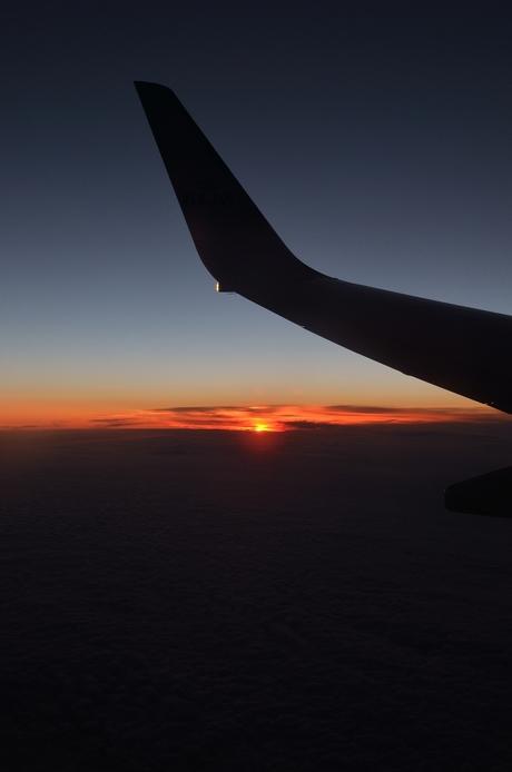 zonsondergang vanuit de lucht