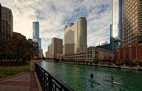 Paddeling on the Chicago river.