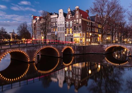 Keizersgracht Amsterdam blauwe uur
