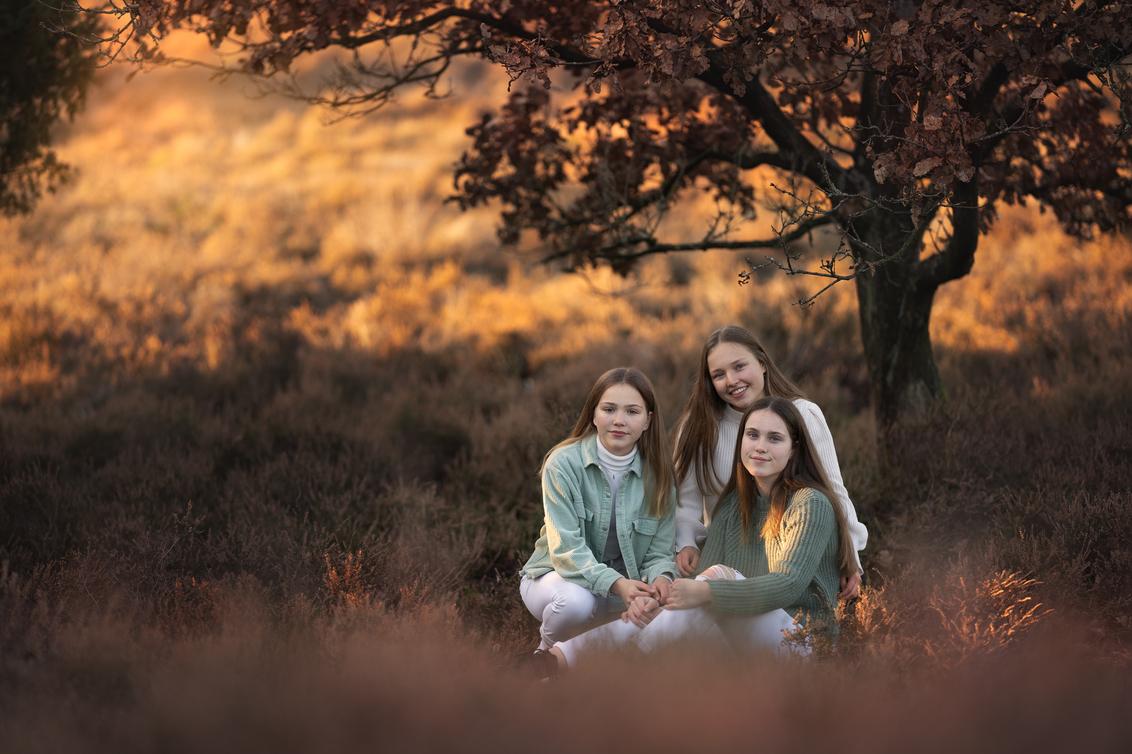 Familieportret - Portret van 3 zusjes op de laatste novemberdag van dit jaar. Heel erg koud maar met een heerlijk zonnetje. - foto door BrendaRoos op 07-12-2020 - deze foto bevat: groep, mensen, portret, heide, daglicht, familie, herfstkleuren, groepsportret, fotoshoot, zusjes, november, herfstlicht, goldenhour, goudenuur