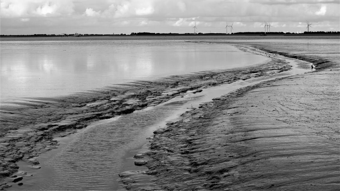 Eems - Geul in de Eems met zicht op Emden Duitsland. Foto is gemaakt in Fiemel bij Termunten. - foto door rodney-bilijam op 28-10-2020 - deze foto bevat: zee, water, landschap, groningerlandschap