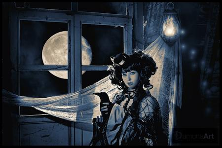 """New Moon - Zo, hier heb ik grotendeels van de dag aan zitten werken :D Ik heb van deze dagfoto een nachtfoto gemaakt in Photoshop met behulp van een tutorial v - foto door damona-art op 18-03-2010 - deze foto bevat: kasteel, model, nikon, nacht, people, moon, photoshop, raw, secret, fantasy, castle, raaf, tamron, manipulatie, tutorial, """"Du Loup"""", Schokpop, """"New moon"""""""