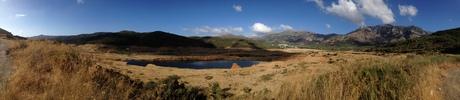 Bijna opgedroogd meer bij de Aposelemis dam