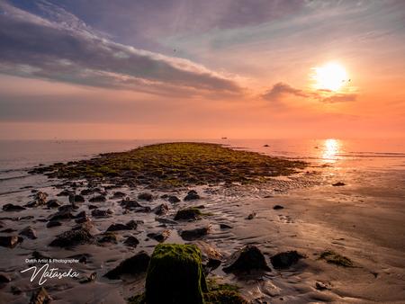 Zonsondergang op het mooie strand van Den Helder. - Het mooie strand van Den Helder tijdens de zonsondergang. - foto door Taswor op 18-06-2020 - deze foto bevat: zon, strand, zee, water, zonsondergang