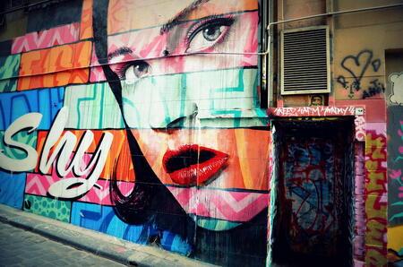 grafiti melbourne - lopend in de straten van Melbourne kwam ik deze prachtige grafiti tegen - foto door fabertjuhh op 30-03-2013 - deze foto bevat: grafiti, melbourne