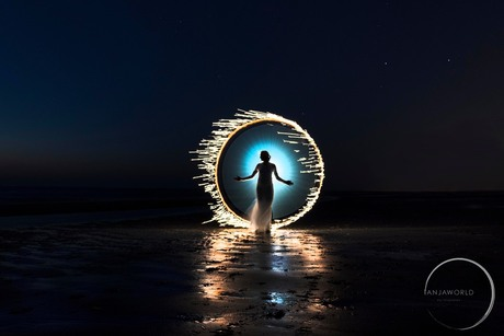 Lightpainting at the beach