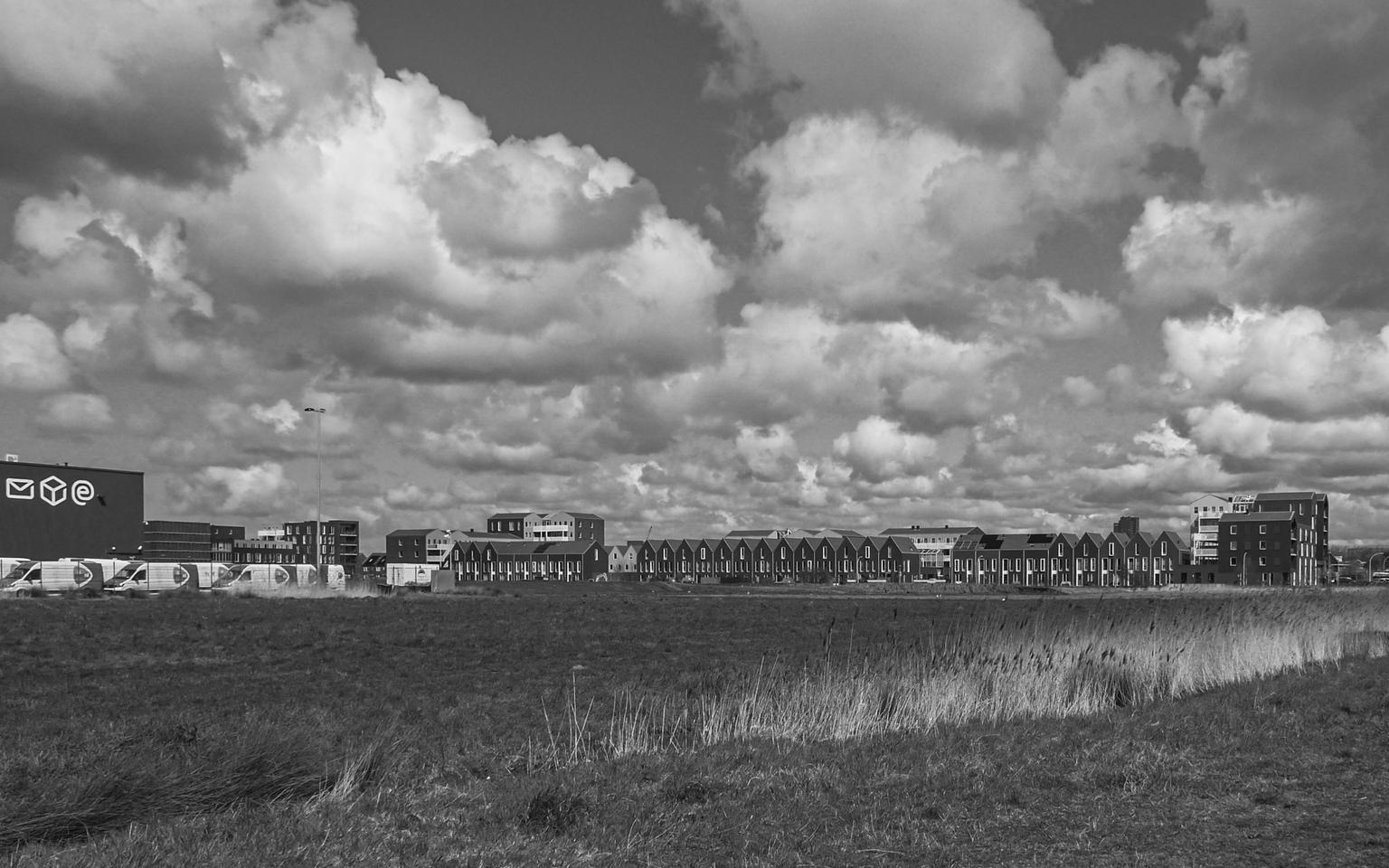 Wat waren de luchten mooi - Fraaie wolkenluchten tijdens een rondje in de buurt. - foto door convust op 12-04-2021 - locatie: 2635 Den Hoorn, Nederland - deze foto bevat: landschap, lucht, wolkenlucht, denhoorn, wandelen, nieuwbouw, wolk, lucht, water, atmosfeer, fabriek, zwart en wit, natuurlijk landschap, cumulus, gras, landschap