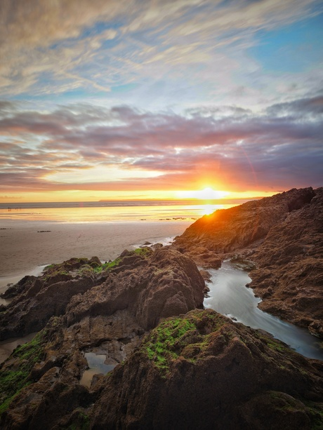 Zonsondergang in Bretagne