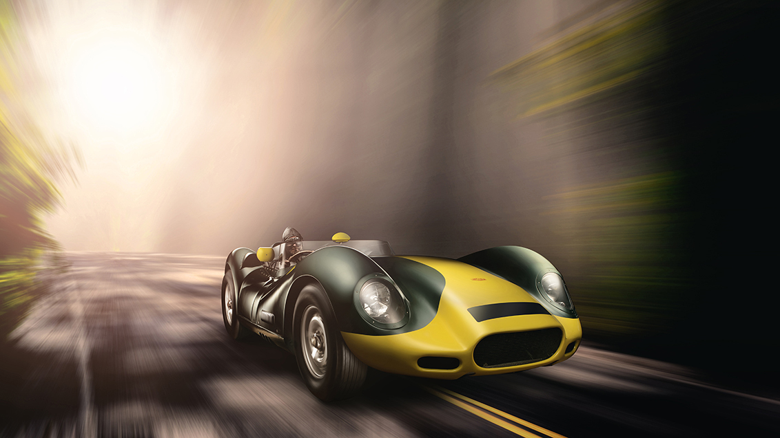 Jaguar Lister 'Knobbly - 1959 Jaguar Lister 'Knobbly'.  Weegt slechts 900 kg en produceert meer dan 300 pk! En het beste van alles. Het is legaal op de weg!   Wat een uni - foto door Fotovanjeauto op 21-11-2020 - deze foto bevat: race, natuur, licht, bewerkt, landschap, auto, kunst, oldtimer, schilderij, vintage, bewerking, snelheid, nostalgie, jaguar, voertuig, beweging, wielen, photoshop, transport, motorsport, creatief, rijden, helm, lister, coureur, wallpaper, blur, autofotografie, bewerkingsopdracht, bewerkingsuitdaging, automotive, classic car, Le Mans, auto fotografie, fdl technique, car fine art, knobbly