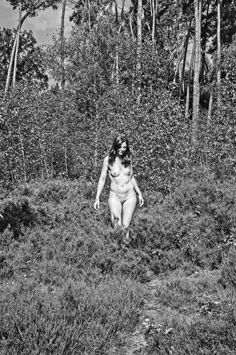 De naakte vrouw in het bos