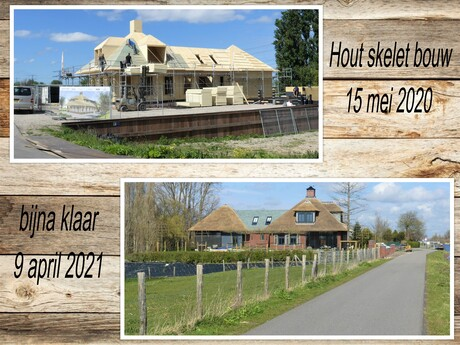 Collage  Hout Skelet bouw  langs Zwethkanaal  15 mei 2020 en 9 april 2021