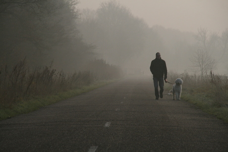 Walking on a foggy Sunday Morning