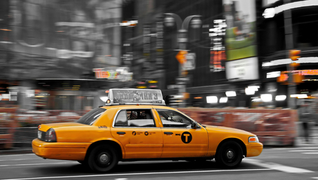 time square Yellow cab