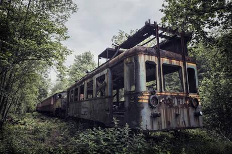 Verlaten trein in Belgie