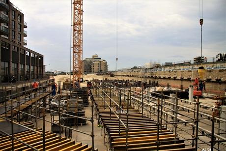overzicht van de  bouw op Kijkduin