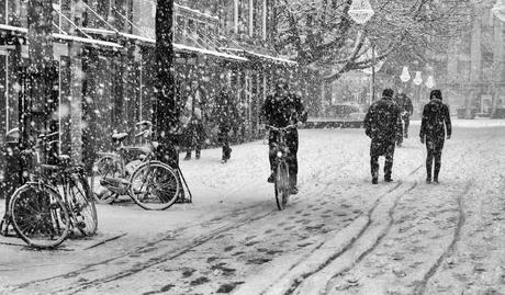Winters straatbeeld