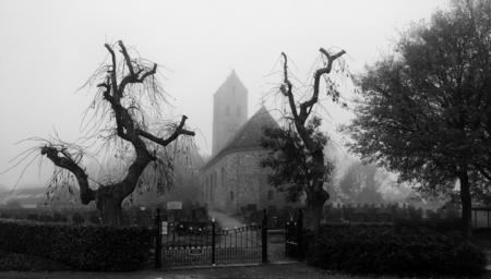 Sint Vitus Kerk Doezum in de Mist - Vitus in de Mist.jpg - foto door wido-foto op 06-11-2014 - deze foto bevat: oud, donker, landschap, mist, mistig, bomen, kerk, spooky, kerkhof, groningen, begraafplaats, sinister, creepy, z/w, zwart wit, Zwart/Wit, zw/w, doezum