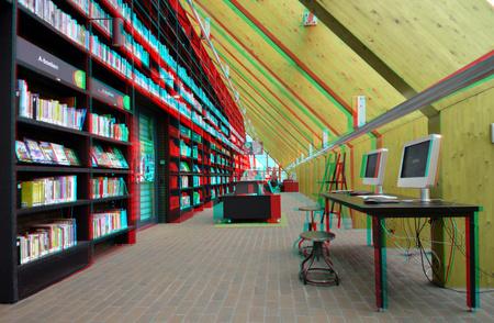 Bibliotheek De Boekenberg Spijkenisse 3D - Bibliotheek De Boekenberg Spijkenisse 3D anaglyph stereo red/cyan Nikkor 12-24mm D7000 - foto door hoppenbrouwers op 26-10-2018 - deze foto bevat: spijkenisse, 3d, bibliotheek, library, architecture, anaglyph, stereo, de Boekenberg, red/cyan