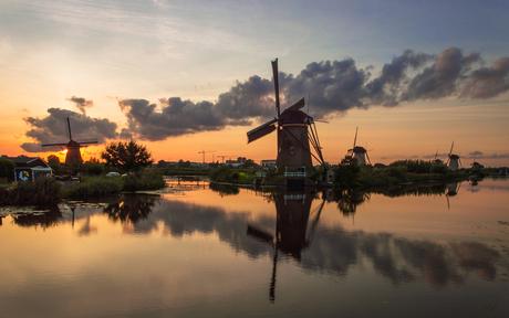 De molens van Kinderdijk.