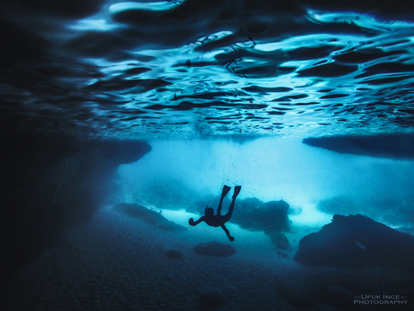 Diving in cave