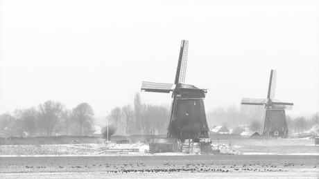 Winters polderlandschap.
