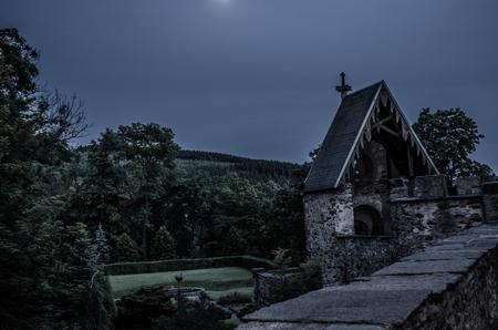 Duitse kasteelmuur - Een Duitse kasteelmuur met een klein, ik weet niet wat het is voor kerkje. - foto door Jor2 op 04-11-2012 - deze foto bevat: tuin, kasteel, bos, kerk, maan, muur