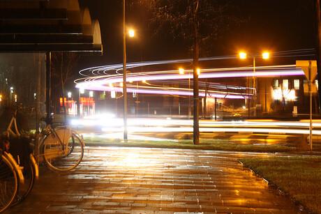 Lichtstrepen vrachtwagen