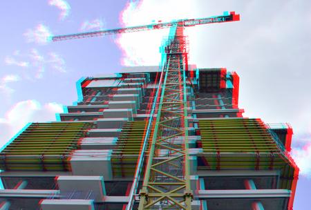 Torenkraan Cooltower Rotterdam 3D - 3d anaglyph stereo red/cyan D7000 cha-cha - foto door hoppenbrouwers op 12-04-2021 - locatie: Rotterdam, Nederland - deze foto bevat: 3d,stereo,cooltower,, 3d, stereo, cooltower, rotterdam, anaglyph, wolk, lucht, gebouw, stedelijk ontwerp, torenblok, kraan, oriëntatiepunt, toren, facade, pool