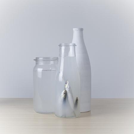 In my bubble - sardientjes in fles; high key - foto door gelskekwikkel op 11-04-2021 - deze foto bevat: #stilleven, #vissen, #wit, #millieuvervuiling, serviesgoed, vloeistof, drinkwaren, serviesgoed, keuken apparaat, serveware, vloeistof, kop, plastic fles, glazen fles