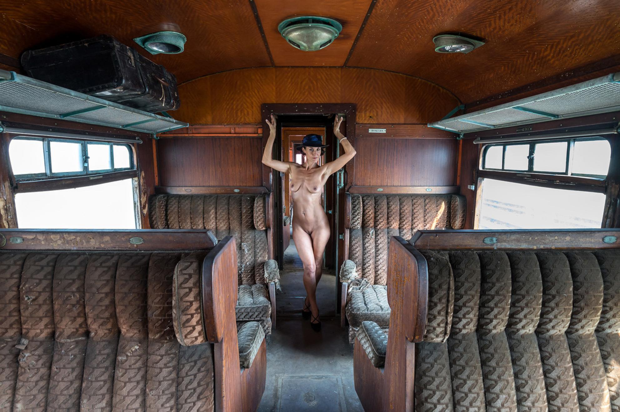 a trip to remember..... - Ergens in België staat deze luxueus uitgevoerde dieseltrein uit de serie 652 (later omgenummerd naar 620) om hopelijk weer in oude pracht gerestauree - foto door Wilcrooymans op 27-12-2015 - deze foto bevat: vrouw, trein, model, erotiek, hoed, beauty, naakt, koffer, belgie, oude, verlaten, urbex, abandoned, coupe, orient, express