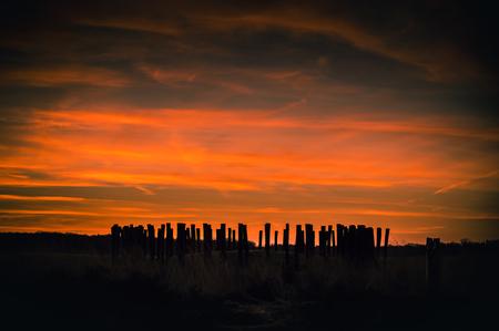 Saharazand in de atmosfeer - De grafheuvels steken prachtig af wanneer de zon opkomt in een door saharazand rood gekleurde atmosfeer - foto door JvHClickz op 25-02-2021 - deze foto bevat: lucht, wolken, zon, natuur, licht, landschap, heide, duinen, tegenlicht, zonsopkomst, nederland, grafheuvel