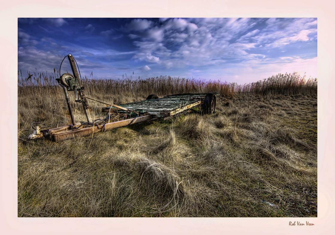 oude boottrailer - - - foto door rob1950 op 14-02-2009 - deze foto bevat: natuur, landschap, sluis, lauwersmeer, lauwersoog, rob1950