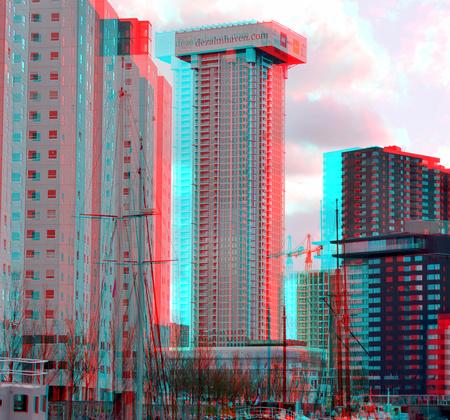 Zalmhaventoren april 2021  Rotterdam 3D - 3d anaglyph stereo red/cyan d7000 18-200 - foto door hoppenbrouwers op 12-04-2021 - locatie: Rotterdam, Nederland - deze foto bevat: 3d, stereo,rotterdam,, anaglyph, rotterdam, zalmhaventoren, building,stad,city,r, d7000, 18-200, gebouw, wolkenkrabber, dag, eigendom, lucht, wolk, wereld, torenblok, stedelijk ontwerp, condominium