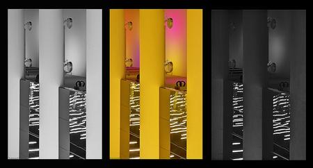 Forbidden pictures 5 - Detailopname. Middelste is het origineel, andere twee zijn op twee manieren omgezet naar zwart-wit. Vaak krijg je de vraag hoe zoiets er uit zou zien - foto door PhotoMad op 22-03-2010 - deze foto bevat: station, rotterdam, metro, ret