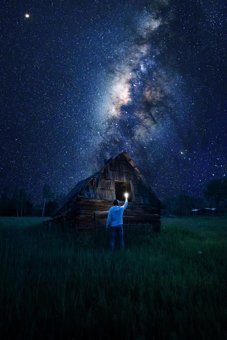 Melkweg tijdens een Canadese zomeravond