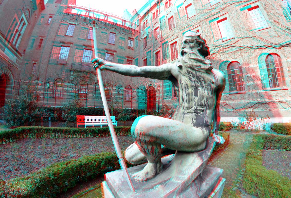 Neptunus Stadhuis Coolsingel Rotterdam 3D - Neptunus Stadhuis Coolsingel Rotterdam 3D  anaglyph stereo red/cyan  8mm - foto door hoppenbrouwers op 05-03-2021 - deze foto bevat: rotterdam, 3d, neptunus, s coolsingel, stadhui
