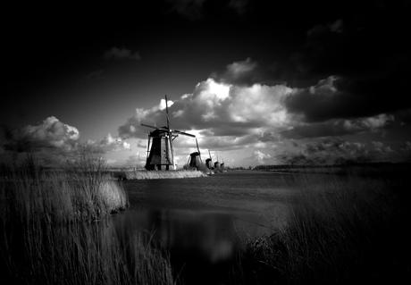 Kinderdijk - Black and White