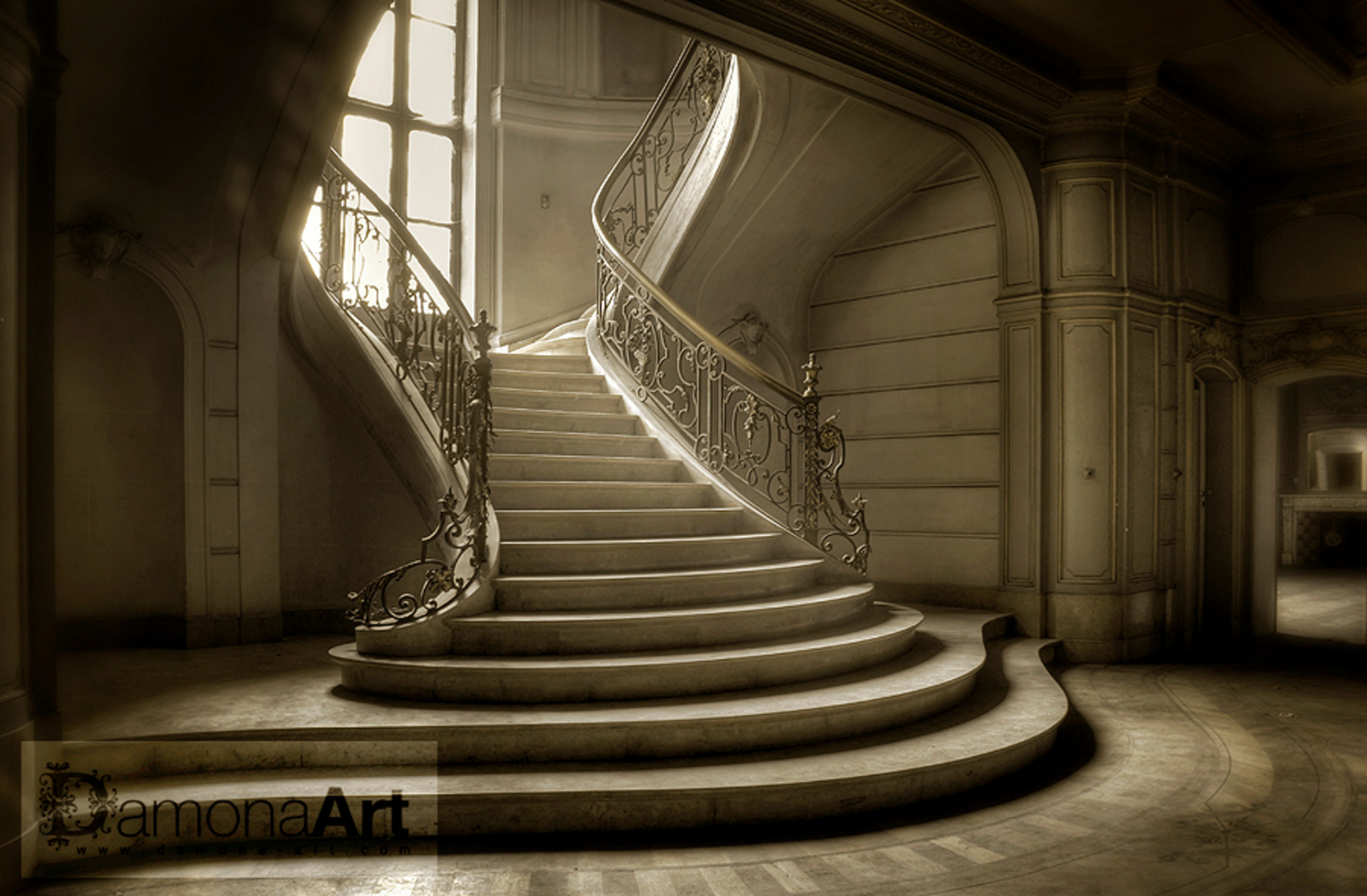 """Memories - A forgotten and abandoned Chateau Lurking on a domain somewhere in Belgium. The history of this Chateau is going back to the year 1913. Abandoned sin - foto door damona-art op 13-02-2010 - deze foto bevat: nikon, light, lost, raw, hdr, stairs, urbex, chateau, abandoned, belgium, decay, rosita, d300, """"Du Loup"""", Damona"""