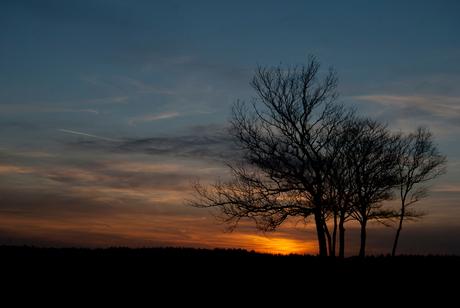 Veluwe bij zonsondergang