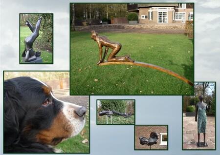 hier waak ik !!!! - de beelden tuin bij de Hiemstra state in zwiggelte , wordt bewaakt door deze hond , Het is alleen een hele goei lobbes  en ging heerlijk naast me zit - foto door cgfwg op 15-01-2010 - deze foto bevat: tuin, beeld, hond