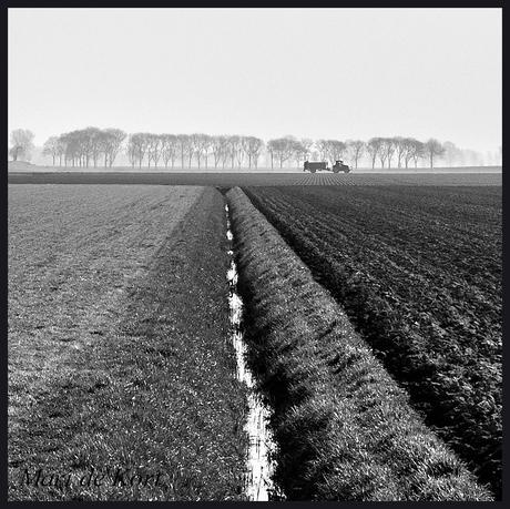 Tractor in eenzame polder